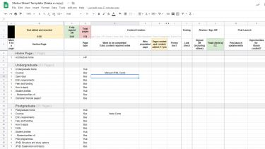 Content Status Spreadsheet - Content Page