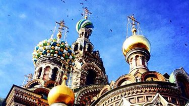 Blue skies over St Basil's Cathedral.
