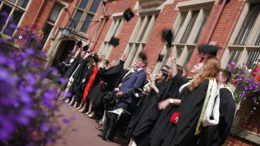 Group of politics graduates in firth court