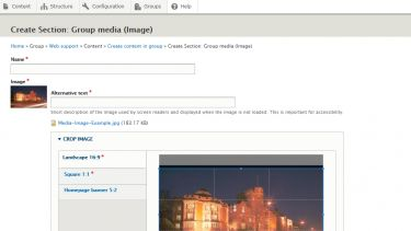 Fill in all required fields and resize and crop your image