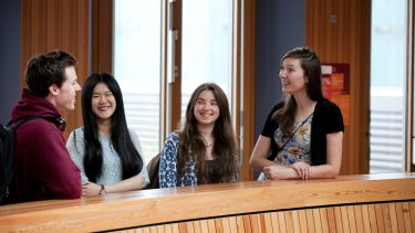 Four students talking in Jessop West