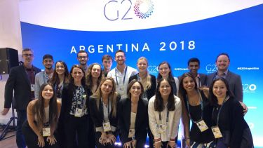 Students at G20 as part of GLOSS trip