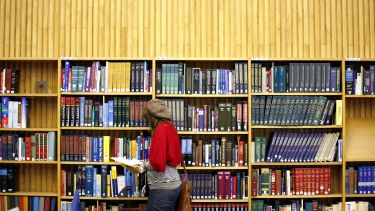 A student making use of the library
