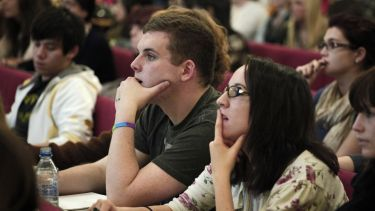 Undergraduate students in a lecture theatre