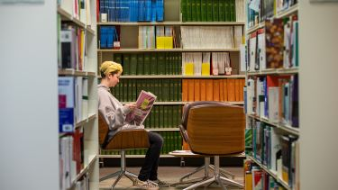 A student in the health sciences library