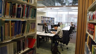 Students using the Health Sciences Library.