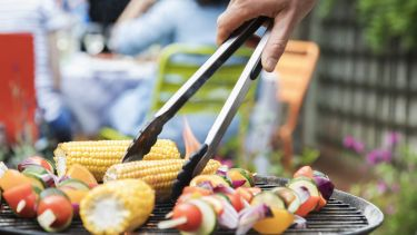 Barbecue showing vegetables