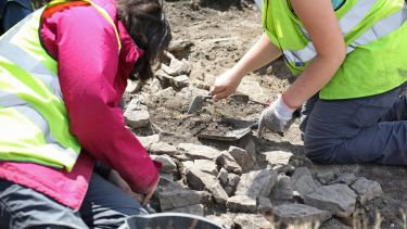 Two students working on a archaeological dig - image
