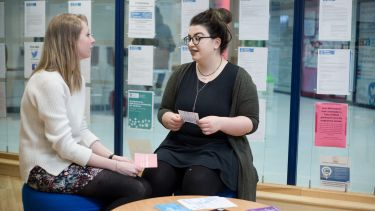 A careers advisor talking with a graduate