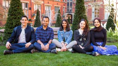 International student ambassadors sat in the Firth Court quadrant