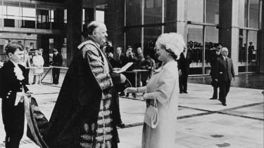 The Queen Mother opening the Arts Tower in 1966