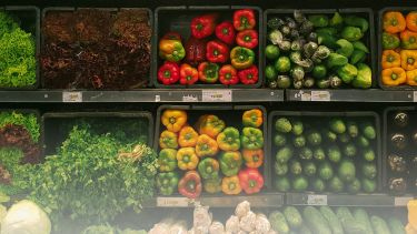 vegetables on a shelf