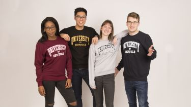 Students wearing University of Sheffield sweaters