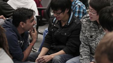 Students at an event in the Department of Computer Science.