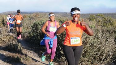 Alumna Sikose Mjali running the Langebaan Country Estate Weskus Marathon
