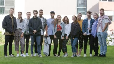 A group of students who are members of SocSoc, the University's Sociology Society