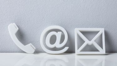 Phone, email and letter logo