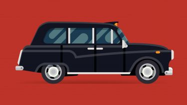 a black cab on a red background