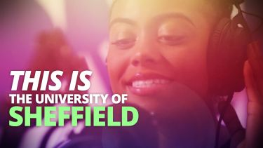 Image: student with headphones; text: This is the University of Sheffield