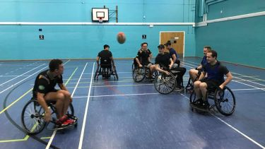 The Rugby League Club running a wheelchair rugby taster session