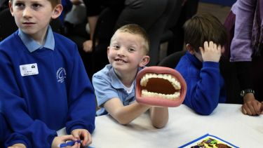 A child learning about oral health