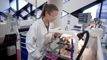 An image of a female student working in a Diamond lab.