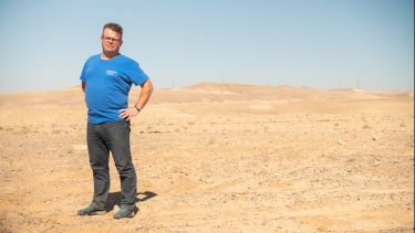 Prof Tony Ryan in the Jordanian desert as part of the Desert Garden project