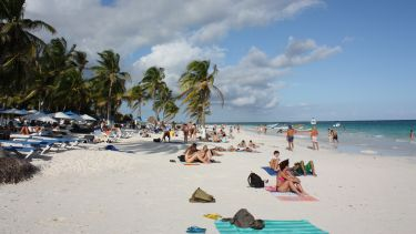 Tourists on a beach in Mexico - Yucatan Peninsula Tulum