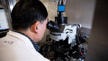 A researcher using an advanced microscope