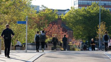 Management School - Students walking along leavygreave road