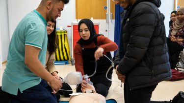 Medicine students undertaking CPR training