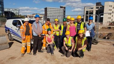 A group photograph of the team taking part in the Sheffield Castle excavation.