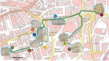 A map of Sheffield city centre highlighting buildings with classically inspired architecture, including the City Hall, Cutlers Hall, the Central Library and more.
