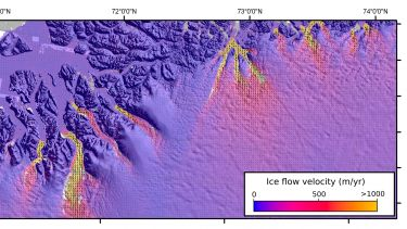 A geospatial map of ice velocity in Greenland