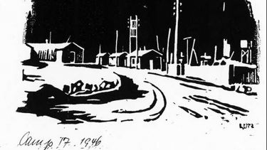 A drawing of the Lodge Moor camp by Heinz Georg Lutz when he was a prisoner there. To do the lino cut Herr Lutz used a piece of linoleum he had picked up, probably in the staff huts, and used a razor blade to make the cuts. Credit: Picture Sheffield