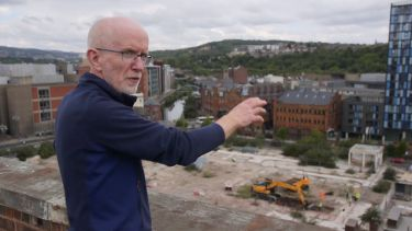 Professor John Moreland of the Department of Archaelogy overlooks the Sheffield Castle excavation site.
