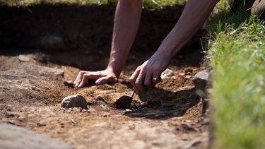 A close up of hands using a trowel to uncover soil at a dig site.