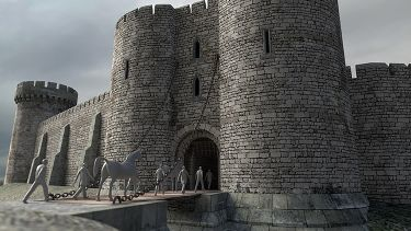 A CGI reconstruction of Sheffield Castle.