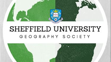 The geography society logo: a green globe with 'Sheffield University Geography Society' written on a white band running across the centre of the logo.