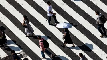 People walking on a zebra crossing