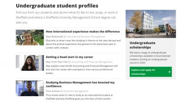 Student profiles index example