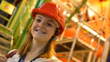 Student in hard hat from 2015 prospectus
