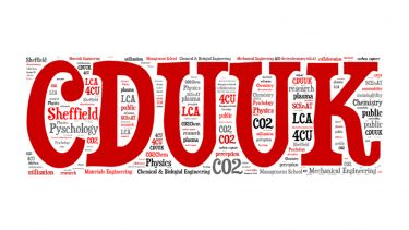 The logo for CDUUK which is red. It is surrounded by random words which are relevant to the group such as Psychology and CO2.