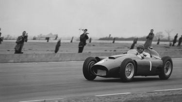 Juan Manuel Fangio driving an F1 car in 1956