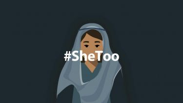 Illustration depicting a woman wearing a headscarf with the caption #SheToo