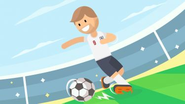 A stylised image of a football player kicking a ball in a stadium.