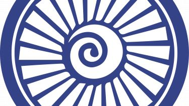 A blue circular icon with a turbine-like image