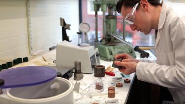 Student preparing samples. Advanced Metallic Systems Centre for Doctoral Training