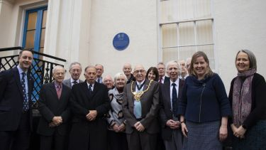 Sir Arthur Hall's blue plaque unveiling with the Lord Mayor and members of the Aesculapian Society of Sheffield