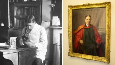Sir Arthur working in his old lab on Leopold street, alongside a portrait of Sir Arthur which hangs in 40 Victoria Street